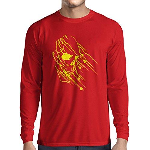lepni.me Camiseta de Manga Larga para Hombre Tatuaje de Calavera, Arte Gráfico Camisas del Día de los Muertos (Medium Rojo Multicolor)