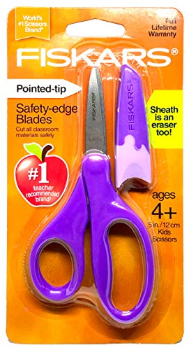 Fiskars Pointed Tip 5 Kids Scissors - Purple with Sheath