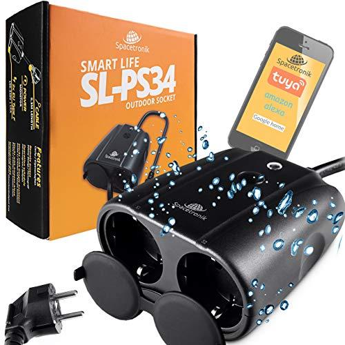 Enchufe para exteriores con WiFi, contador de energía, temporizador, Smart Home, Tuya Alexa Google Home, enchufe de jardín con wifi, control remoto por aplicación, Spacetronik SL-PS34