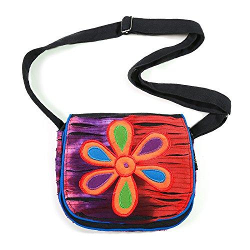 KUNST UND MAGIE Kindertasche/Schultertasche mit bunter Blume, Farbe:Blau