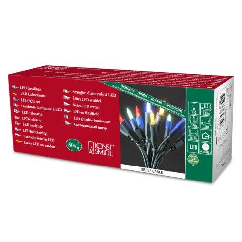 Konstsmide 6303-500 LED Minilichterkette / für Innen (IP20) 230V Innen / 50 bunte Dioden / grünes Kabel