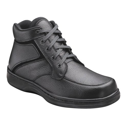 Orthofeet 481 Men's Comfort Diabetic Therapeutic Extra Depth Boot: Black 7.5 X-Wide (4E) Lace