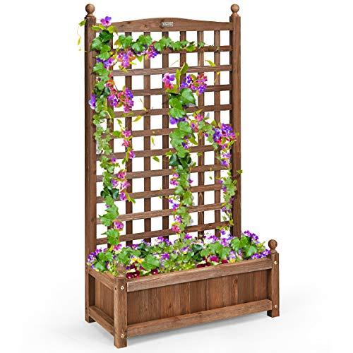 COSTWAY Wood Flower Plant Stand with Trellis, Solid Garden Trough Planter, Outdoor Garden Weather-Resistant Plant Rack for Vines, Climbing Flower, Plant Pot Boxvatory (64 x 28 x 120cm, Brown)