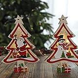 Mobestech 2 piezas de árbol de navidad de madera con pilas iluminaron adornos de mesa de ...