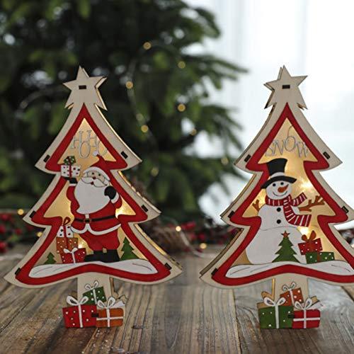 Mobestech 2 piezas de árbol de navidad de madera con pilas iluminaron adornos de mesa de árbol de navidad de madera para decoración de navidad regalos centro de mesa de fiesta santa y muñeco de nieve