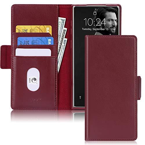 FYY Handyhülle für Samsung Galaxy Note 10 Plus / 5G, [Echt Leder][Kartenfach][Magnetverschluss][Standfunktion][RFID Blocker] Schutzhülle Brieftasche für Samsung Galaxy Note 10 Plus Tasche-Weinrot