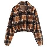 ZAFUL Women's Sherpa Pullover Faux Fur Half Zip Long...
