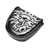 PLUSKER Skull Golf Center Shafted Mallet Putter Cover Magnetic Closure Synthetic Leather Black Golf Club Putters Headcover