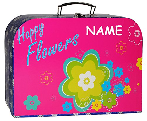 alles-meine.de GmbH Kinderkoffer -  Bunte Blumen / Flowers - pink & türkis blau  - incl. Namen - Groß - Puppenkoffer Koffer - Reisekoffer aus Pappe mit Metall Griff - für Kinde..