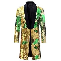 Gold - Green Slim Fit Shiny Sequin Blazer