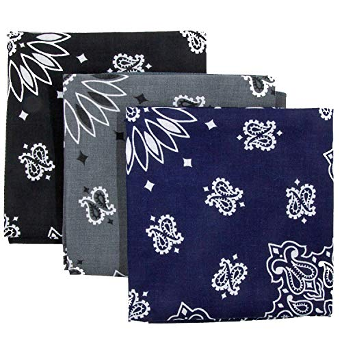 Bandana 3-Pack - Made in USA For 70 Years - Sold by Vets – 100% Cotton –Sewn Edges (Black,...