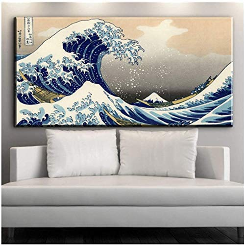 Surfilter Impresión en lienzo Japonés La gran ola de Kanagawa póster de arte clásico Impresión de tela en lienzo Decoración de arte de pared Calcomanías para el hogar Pintura en lienzo 27.5