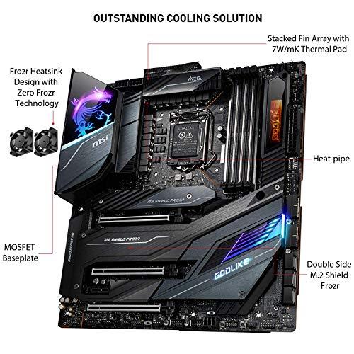 MSI MEG Z490 GODLIKE Scheda Madre Gaming (E-ATX, 10 Gen Intel Core, LGA 1200 Socket, DDR4, SLI/CF, Triple M.2 Slots, Thunderbolt 3 Type-C, Wi-Fi 6, Mystic Light RGB)