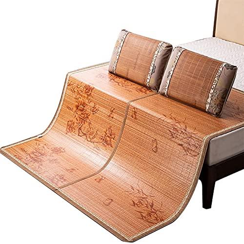 NNLX Colchón de bambú Topper, Ropa de Cama de 3 Piezas Alfombra de Paja de Verano alfombras para Dormir para Camas de Cama Plegable de Doble Cara,B,0.9 * 1.9M(35 * 74in)