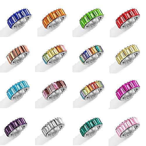 KEJI Boho arco iris cristal blanco anillos mujeres moda brillante baguette zirconia cúbica color piedra anillo mujer boda fiesta joyería