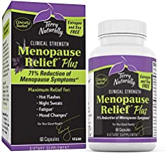 Terry Naturally Menopause Relief Plus - Rhodiola & Black Cohosh Complex, 60 Vegan Capsules - Hot Flash & Night Sweat Relief, Energy & Mood Support, Soy Free - Non-GMO, Gluten-Free - 60 Servings