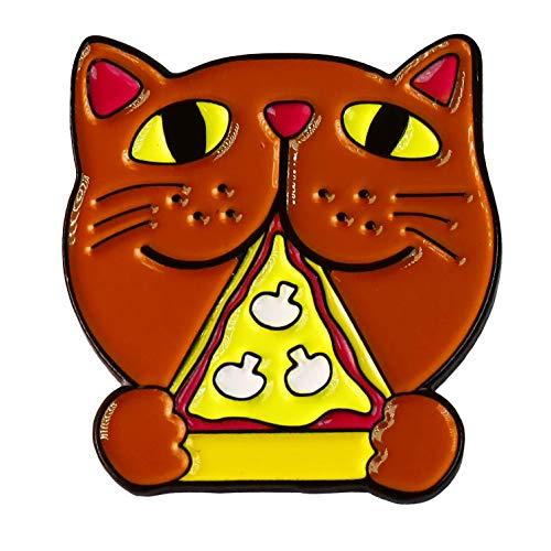 Pizza Cat Eating Food Enamel Lapel Pin (10 Pins)