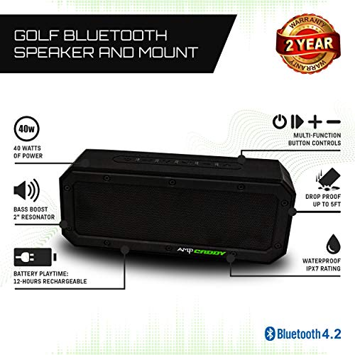 Golf Speaker with Mount, 40 Watt Bluetooth Portable Ampcaddy Version 3 Pro Max Bluetooth Speaker and Mount with Loud Stereo Sound and Bass Boost, 12-Hour Playtime, Extended Bluetooth Range, Waterproof