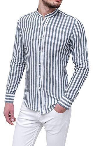Evoga Camicia di Lino Uomo Serafino Estiva Blu Casual con Colletto alla Coreana