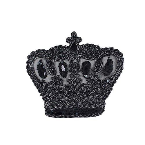 Lorigun DIY Ropa Costura Parche Lentejuelas Cuerda Corona Negra Grandes Apliques Accesorios de Moda para la Camiseta
