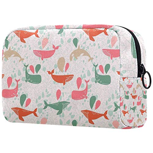 Makeup Bag Travel Cosmetic Bag Pouch Purse Handbag with Zipper - Sea Colored Whales