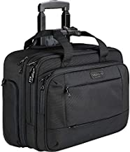 KROSER Rolling Laptop Briefcase Premium Laptop Bag Fits Up to 17.3 Inch Laptop Water-Repellent Wheeled Computer Bag Overnight Roller Case with RFID Pockets for Business/Travel/School/Men/Women-Black