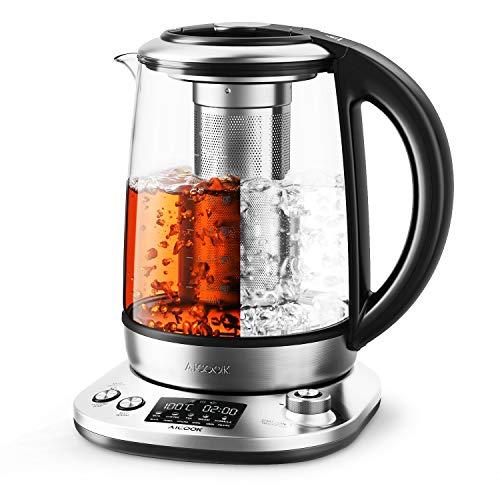 Aicook Wasserkocher 1.7L Edelstahlglas Teekocher Intelligente Teekocher mit LCD Anzeige, Warmhalten für 120 Minuten und variable Temperatur, BPA-frei, 2200 W