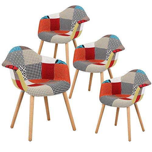 eSituro 4 X Chaises de Salle à Manger Fauteuil Salon en Lin avec accoudoirs Multicolore SDC0016-4