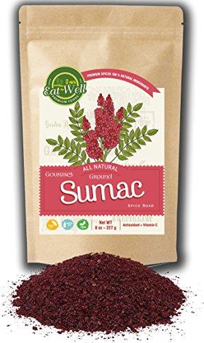 Eat Well Premium Food - Sumac Spice 8 oz Reseable Bag, Bulk Ground Turkish Sumac Berries, Bran Extra Grade Sumac Seasoning, Middle Eastern Spices