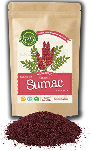 Sumac Spice Powder | 8 oz Reseable Bag | Bulk Ground Turkish Sumac Berries - Bran Extra Grade Sumac Seasoning | Middle Eastern Spices | by Eat Well Premium Food