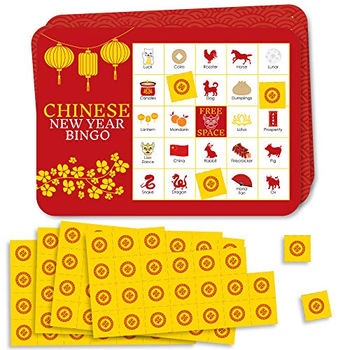 Big Dot of Happiness Chinese New Year - Bingo Cards and Markers - Year of The Ox Party Bingo Game - Set of 18