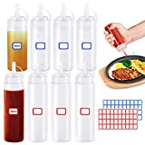 8 Stück Plastik-Quetschflaschen mit Deckel, Gewürzflaschenspender Mehrzweck-Quetschflasche für Ketchup-Sojasauce-Salatdressing (200 ml und 400 ml, je 4 Stück)