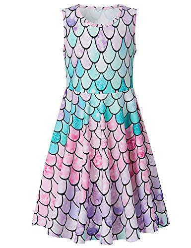 Adicreat Mädchenkleid, ärmellos, Rundhalsausschnitt, niedlich, lässig, bedruckt, Partykleid, Sommerkleid Gr. 8-9 Jahre, Meerjungfrau-Türkis