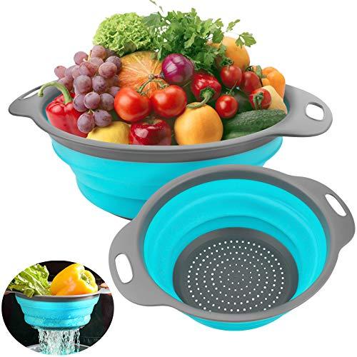 Miuphro Scolapasta Silicone Pieghevole Scolapasta Set, Strainer Pieghevole Cucina Frutta Verdure Basket Cucina Domestica