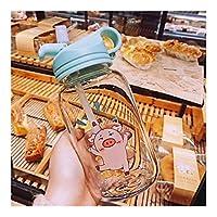 XFHA 豚ストローカップクリエイティブ透明な耐熱ガラスロープ大容量環境に優しい安全なポータブルカップ付き 良質のマグ (Color : Blue strong)