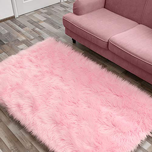 Ophanie Ultra-Luxurious Fluffy Rectangle Area Rug, Soft and Thick Faux Fur Shaggy Floor Rug Non-Slip Carpet for Bedroom, Living Room, Modern Decor Rug, 3x5 Feet, Pink