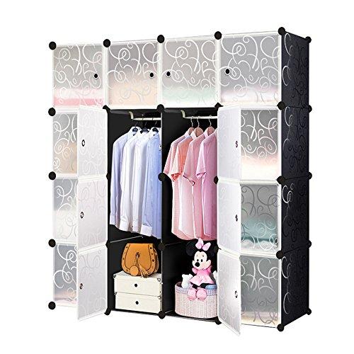 HENGMEI DIY Regalsystem Aufbewahrung Badregale Kleiderschrank Schuhregal Sideboard Schuhschrank Steckregal Badregal mit Schwarz-Muster (16 Boxen mit Tür)