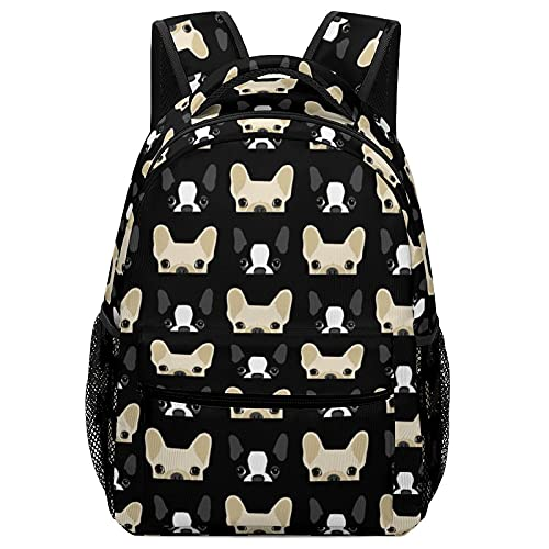 Adjustable Boston Terrier And French Bulldog Friends Backpack Fun Basic Sackpack For Unisex Large Capacity Computer Bag Or Book, Clothes