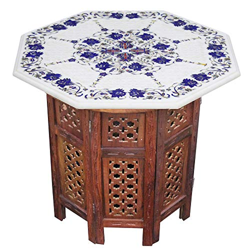 """Unique 21"""" Octagonal Vintage White Marble Rustic Live Edge Coffee Table with Lattice Floral Artwork of Gemstones 