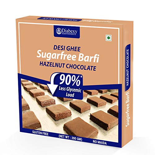 diabexy Desi Ghee Sugar Free Chocolate Hazelnut barfi for Diabetics- 200g