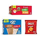 Pop-Tarts, Breakfast Toaster Pastries, Variety Pack (1 Pack 32Count) with Pringles Flavored Variety Pack Potato Crisps and Cheez-It, Baked Snack Cheese Crackers (40 Count), 90 Piece Set