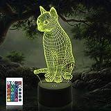 3D Illusions lampe LED Nachtlicht, CooPark Katze 3D lampe Tischlampe Nachtlichter 16 Farben Touch-Schalter mit Remote-Schreibtischlampe mit 150 cm USB-Kabel Kinder Katze Nachtlampe