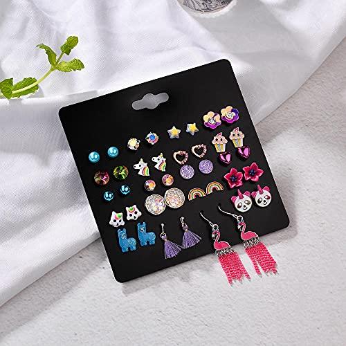 XAOQW 20 Pares/Lote Pendientes Conjunto Adecuado para Las niñas Lindo Pendientes de Animales de Fruta búho Hoja de Hongo corazón Mariquita Mariquita joyería de manzana-HP028 20 Pares