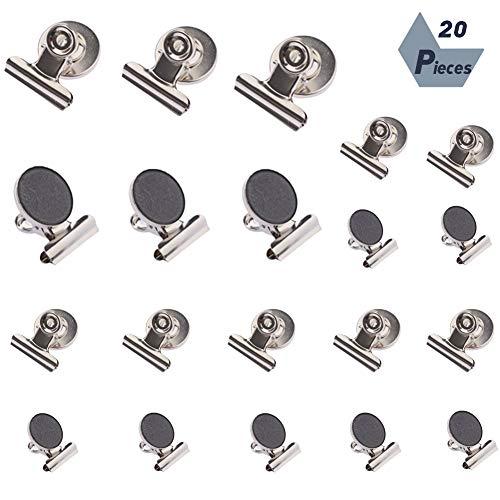 falllea 20 Piezas de Imánes Nevera Clip Pinzas con imán para la Nevera Clips Magnéticos de Refrigerador Imanes Pinzas Clips de Metal Utilizado para Cocina Oficina Escolar Fotos Plata