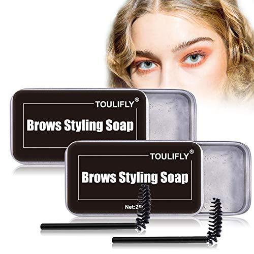 Soap Brows,Augenbrauen Gel Transparent,Eyebrow Soap,Augenbrauen Gel Wasserfest,Seife Augenbrauen,Eyebrow Shaping Soap mit Pinsel Wasserdichte,für die Erstellung Wild Brauen (2 Stücks)