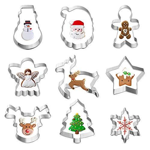 TUPARKA 9 szt. świąteczny zestaw foremek do ciastek, świąteczne foremki do ciastek zawiera płatek śniegu, renifery, anioł, choinkę, Mikołaj twarz, bałwan, gwiazda, piernik mężczyźni, około 7,6 cm
