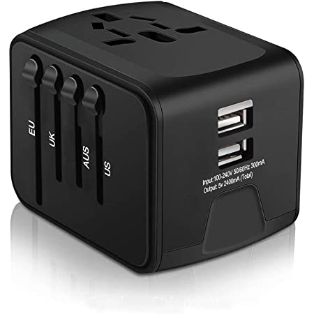 Universal Travel Adapter, All-in-one International Power Adapter with 2.4A Dual USB, Europe Adapter Travel Power Adapter Wall Charger for UK, EU, AU, Asia Covers 150+Countries (Black)
