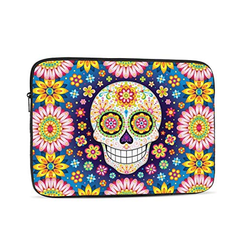 NYIVBE Colorful Smiling Skull with Flowers Laptop Case is Compatible with 10 Inch, 12 Inch, 13 Inch, 15 Inch, 17 Inch MacBook/Tablet/Laptop Unisex Portable Laptop Bag