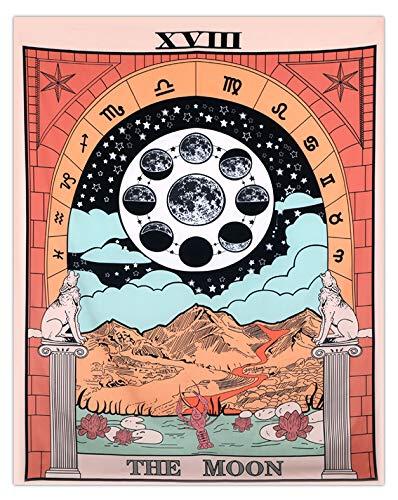 Mazheny Tarot-Tagesdecke mit Mond, Sternen und Sonne, mittelalterlicher europäischer Wandteppich, geheimnisvolle Dekoration für Haus und Schlafzimmer, 59 x 82 cm