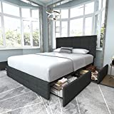 Allewie Queen Platform Bed Frame with 4 Storage Drawers and Headboard, Square Stitched Button Tufted Upholstered Mattress Foundation with Wooden Slats Support, No Box Spring Needed, Grey